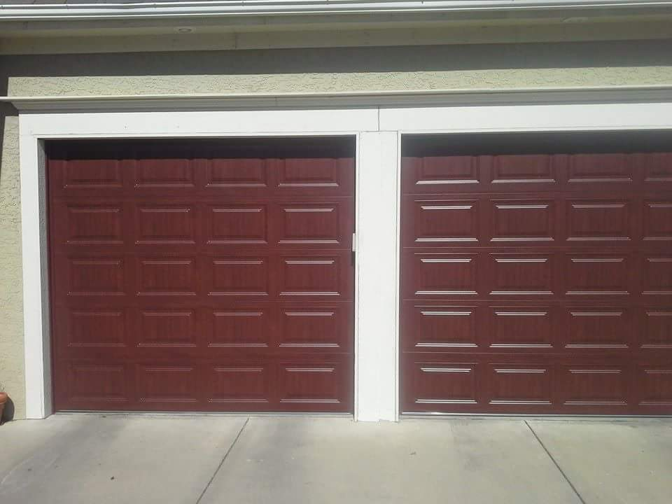 Clopay classic collection with ultragrain cherry finish for Garage door finishes