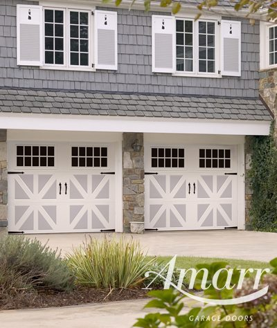 Armarr - Double Santiago style garage doors in white and blue